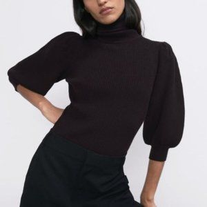 Zara Puff Sleeve Turtleneck Fitted Ribbed Sweater